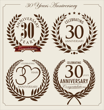 30: Anniversary laurel wreath, 30 years Illustration