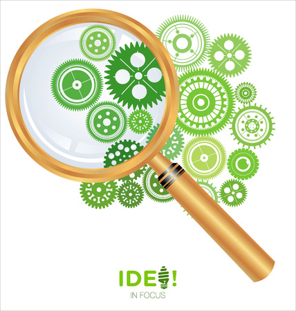 Idea in focus, gears with magnifying lens Illustration