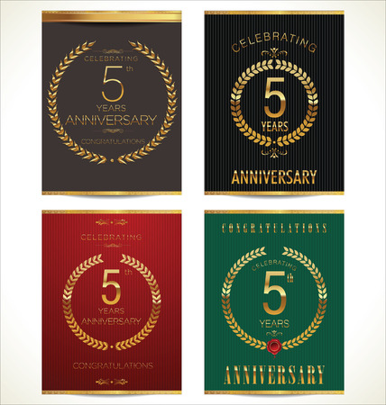 5 years: Aniverrsary laurel wreath banner collection, 5 years