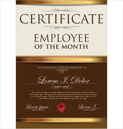 Certificate template, employee of the month Vector
