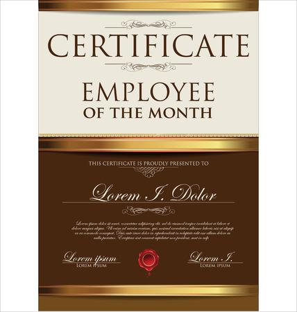 månader: Certifikatmall, anställd av månaden