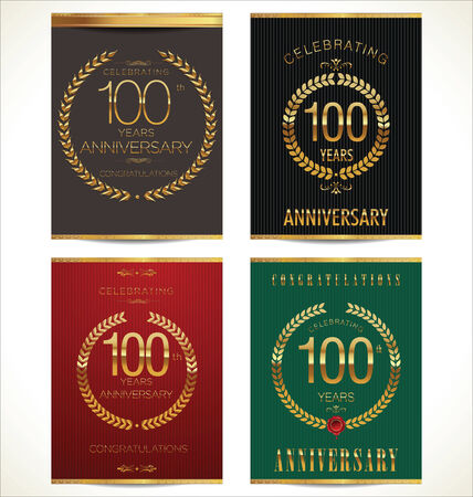 Aniverrsary laurel wreath banner collection, 100 years Vector
