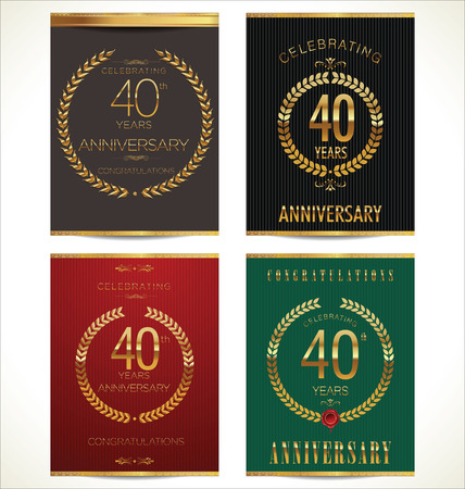 40 years: Aniverrsary laurel wreath banner collection, 40 years Illustration
