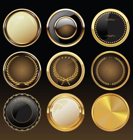 Vector Abzeichen der Gold-und schwarz Dichtung Set Standard-Bild - 26010073