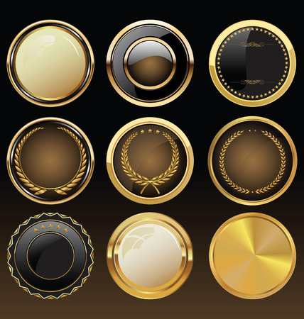 wax: Vector Badges of Gold and black Seal Set Illustration