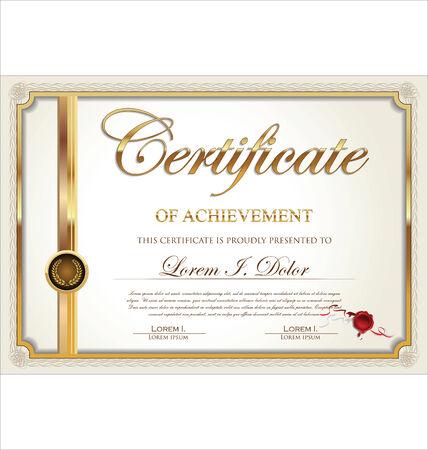 Golden certificate of achievement template, vector illustration Vector