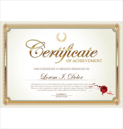 Certificado de Oro de la plantilla de logro, ilustración vectorial