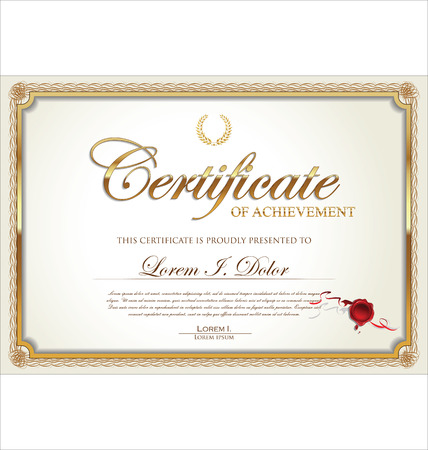 achieve: Golden certificate of achievement template, vector illustration