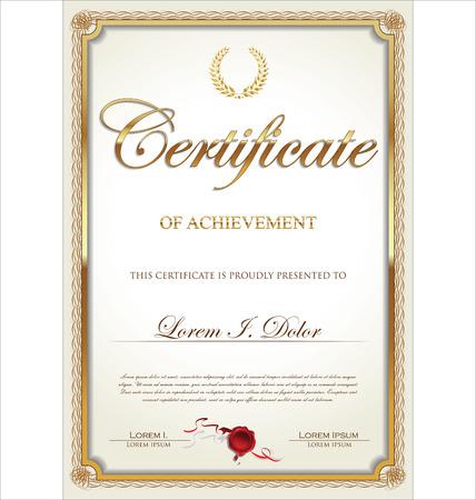 certificate frame: Golden certificate of achievement template, vector illustration