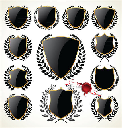 Black shield and laurel wreath collection Vector