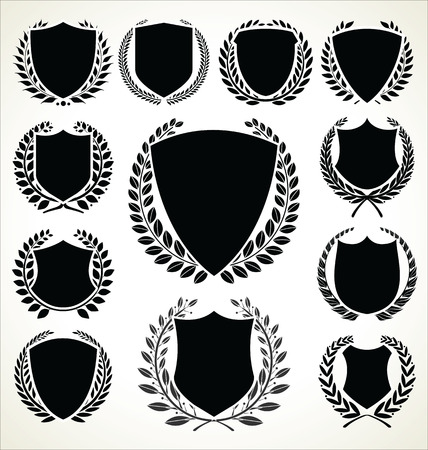 Black shield and laurel wreath collection Illustration