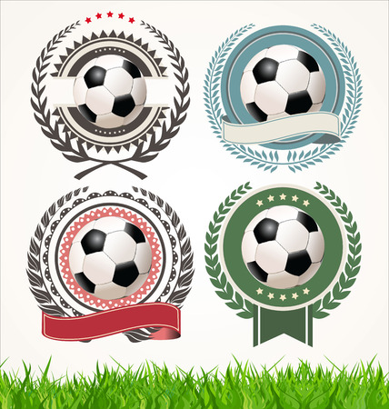 Set of soccer labels with laurel wreaths Vector