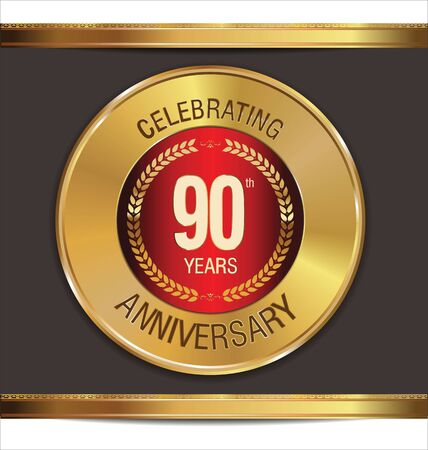 90 years: Anniversary golden sign, 90 years Illustration