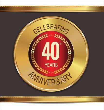 40: Anniversary golden sign, 40 years