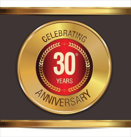 30: Anniversary golden sign, 30 years