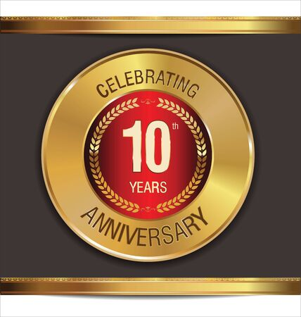 Anniversary golden sign, 10 years Vector