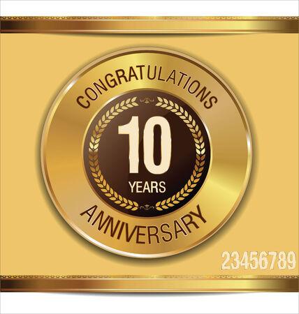 10 years Anniversary golden label Vector