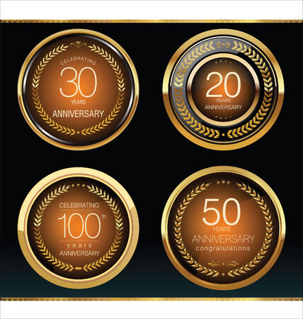 30, 20, 50 and 100 year Anniversary golden labels Vector