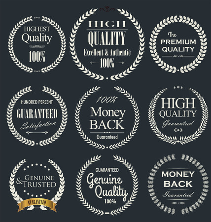 Premium quality laurel wreath, set Vector