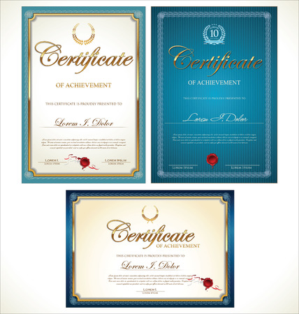 money border: Blue and gold certificate template collection