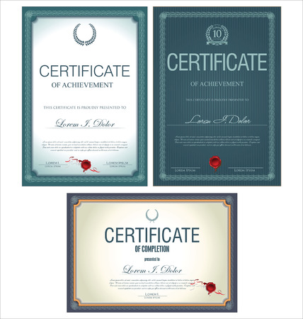 Blue certificate template collection Vector