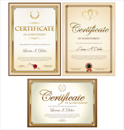 stock certificate: Golden certificate template collection Illustration