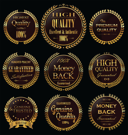 Set of vintage premium quality stickers and elements Illustration