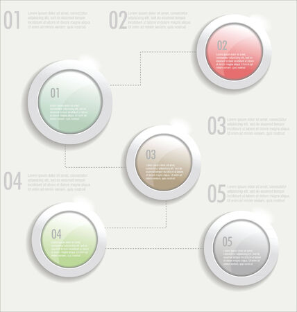 3d circle: Modern design with glossy plastic buttons, idea concept