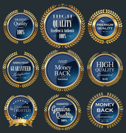 satisfaction guaranteed: Set of vintage premium quality blue labels