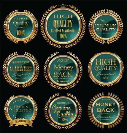 Set of vintage premium quality green labels