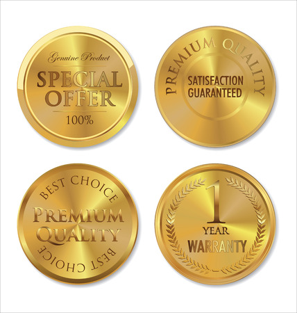 Gold metal badges Vector
