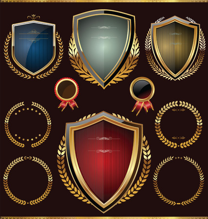 Escudos con corona de laurel Vectores