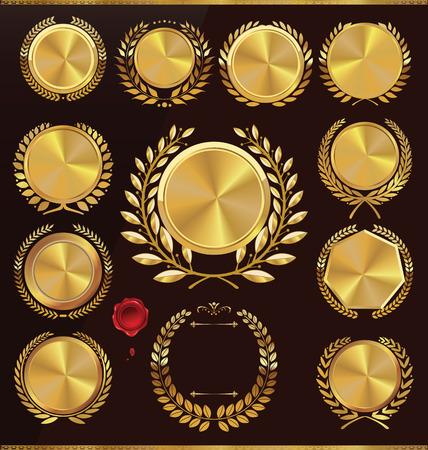 Gouden jubileum medaillon met lauwerkrans, collectie Stock Illustratie