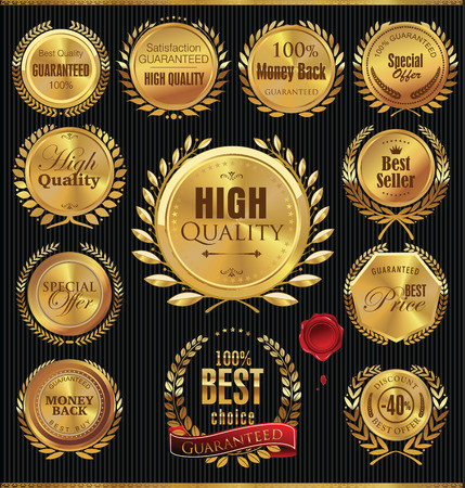 Premium quality golden medallion with laurel wreath