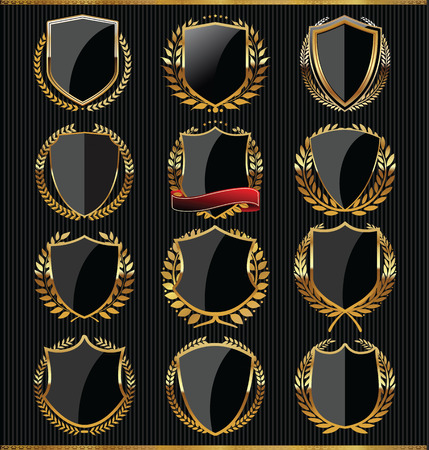 medieval shield: Gold and black shield collection
