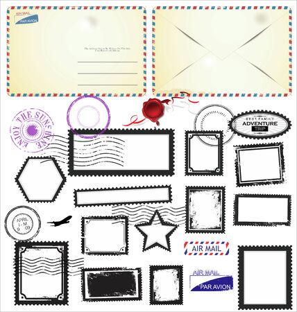 Set of post stamp symbols, vector illustration Vector