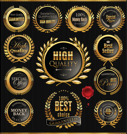 Premium quality golden medallion with laurel wreath Vector Illustration