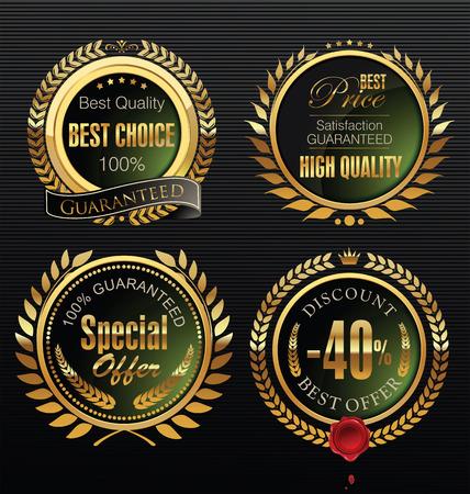 wax stamp: Premium quality golden medallion with laurel wreath