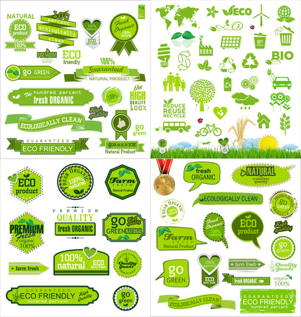 Mega collection ecology icons Vector