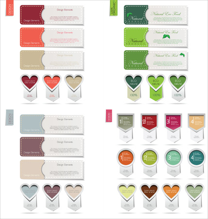 three layer: Abstract vector paper tags Illustration