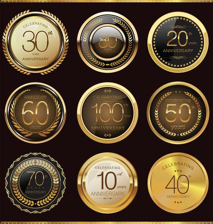 seal brown: Anniversary sign collection, retro design
