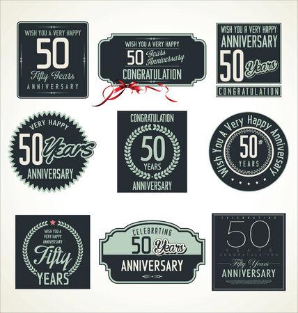 tenth birthday: Anniversary sign collection, retro design