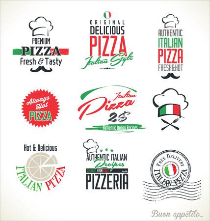 caja de pizza: Etiquetas pizza Vectores