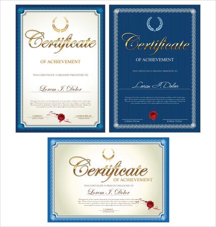 diploma certificate: Certificate template, set Illustration