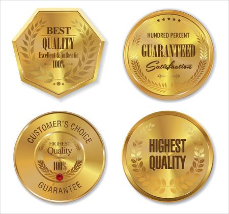 Golden metal badges
