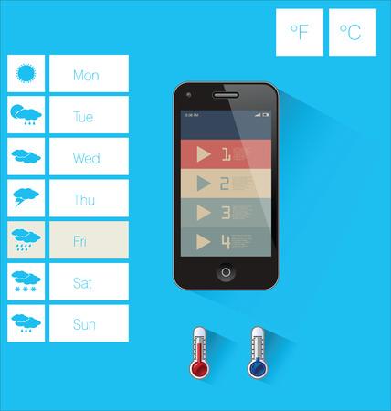 Weather widget flat design Vector