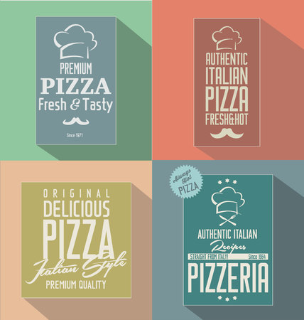 Pizza retro flat background Vector