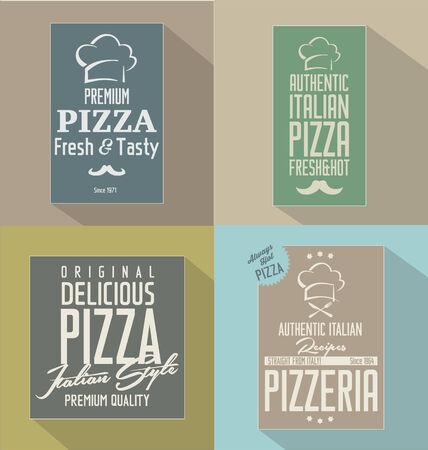 pizzeria label: Pizza retro flat background Illustration