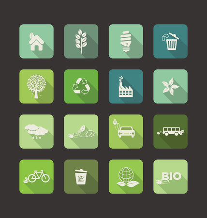 clean energy: Ecology vector flat icons set Illustration