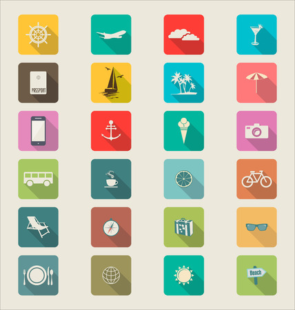ticket icon: Travel Modern flat icon collection retro color